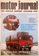 CA211 Zeitschrift Motor Journal, Ausgabe 10, 1972, Test: Datsun Cherry, Fiat 127, Neuwertig - Automóviles & Transporte