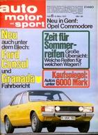CA218 Zeitschrift Auto Motor Und Sport, Heft 6/1972, Ford Consul Und Granada - Automóviles & Transporte