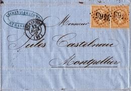 Lettre Strasbourg 1863 Eschenauer Montpellier Jules Castelnau Napoléon III 10 Centimes Racine De Gentiane - 1862 Napoleon III