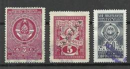 JUGOSLAWIEN Jugoslavia Tax Revenue, 3 Stamps, O - Service