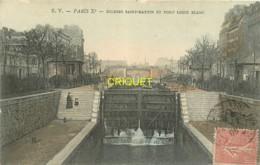 Paris, écluses St Martin Et Pont Louis Blanc, Carte Colorisée Affranchie 1905 - Paris (10)