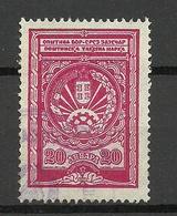 JUGOSLAWIEN Jugoslavia Ca 1930 Tax Revenue 20 Dinar O - Dienstpost