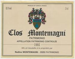 Étiquette De Vin Corse Clos Montemagni Patrimonio 1992 - Labels