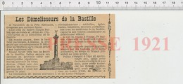 Presse 1921 Démolition De La Prison De La Bastille Maître-maçon Palloy Rue Des Imbergères Sceaux Sous-Préfecture  226Y - Oude Documenten