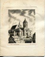 N°73460 -Eau Forte Signée Hue -Caen Vaucelles- - Caen