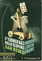 1° Torneo Nazionale Dello Scopone, Sanremo 6-12 Dicembre XV (1937), Riproduzione B68, Reproduction - Cartes Postales