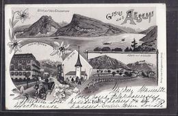 CPA SUISSE - AESCHI - GRUSS AUS Aeschi - TB CP Multivue Dont Hôtel Bären , Kirche , Aeschi Mit NIESSEN , Etc... 1902 - BE Berne