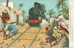 Treno (Locomotiva) A Vapore Che Attraversa Il Suolo Libico, Riproduzione B77, Reproduction - Treni