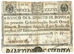 8 SCUDI CEDOLA BANCO DI SANTO SPIRITO DI ROMA 12/01/1786 MB+ - Italien