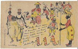 ILLUSTRATEUR HUMOUR NÈGRE DÉFILE DE PERSONNAGES ROI SUR CHARIOT FILET PAPILLON PARAPLUIE - Other Illustrators