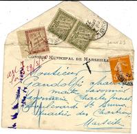 """4-1-1922 - Env. Carte De Visite Affr. 5 C  TAXE Double 40 C ( 20 X 2 )  + 1 F De Pénalité   + """" Art.7 Loi Du 29/3 /20 - Lettres Taxées"""