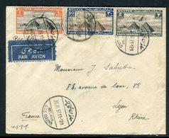 Egypte - Enveloppe De Helwan Pour La France En 1937 Par Avion , Affranchissement Plaisant ( Tricolore ) -  Réf J9 - Egypt