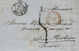 1865- Lettre En Port Du De Basel Pour Les Herbiers ( Vendée ) Taxe Sarde 5 D Tampon + SUISSE-St LOUIS / AMB . A Rouge - Covers & Documents
