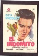 Programa Cine. El Indomito. Elvis Presley. 1961. No Apta Menores 18 Años. EEUU. Cine Goya.Tanger. Marruecos. - Posters