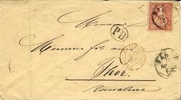 1866- Lettre De BALE  Affr. 30 C  + Entrée SUISSE-St LOUIS / AMB C   Rouge Pour  Thor ( Vaucluse ) - Covers & Documents
