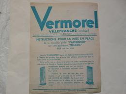 VIEUX PAPIERS - 69 VILLEFRANCHE - PROSPECTUS : Grile PARMENTIER - Soufreuse BLUETTE - Publicités