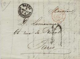 1861- Lettre En Port Du De Basel Pour Paris Taxe 4 Tampon Entrée SUISSE  3 St LOUIS 3 Rouge - Covers & Documents