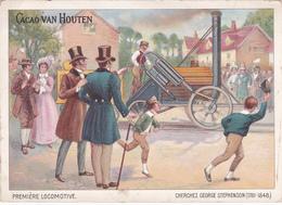 Publicité Pour Le Cacao Van Houten - Première Locomotive - George Stephenson - ETAT Coin Gauche Corné - Van Houten