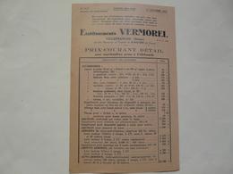 VIEUX PAPIERS - 69 VILLEFRANCHE - ETS VERMOREL : Prix-Courant Détail Pour Marchandises Prise à Villefranche - Publicités