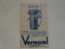 """VIEUX PAPIERS - 69 VILLEFRANCHE - ETS VERMOREL : Prospectus Poudreuse """"BLUFINE"""" - Publicités"""