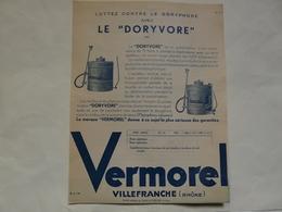 """VIEUX PAPIERS - 69 VILLEFRANCHE - ETS VERMOREL : Prospectus Pulvérisateur """"DORYVORE"""" - Publicités"""