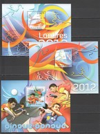 S898 2011 GUINE GUINEA-BISSAU SPORTS TABLE TENNIS FOOTBALL OLYMPIC GAMES LONDON 3BL MNH - Coppa Del Mondo