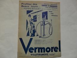VIEUX PAPIERS - 69 VILLEFRANCHE - ETS VERMOREL : Prospectus Sur La POMPE - BAQUET - Publicités