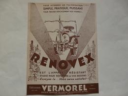 VIEUX PAPIERS - 69 VILLEFRANCHE - ETS VERMOREL : Prospectus RENOVEX - Publicités