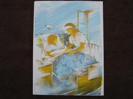 Lithographie Originale De Raymond Poulet Né En 1934 Non Signee: L'Infirmiere (Malade, Hopital) - Estampes & Gravures