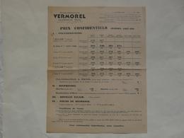 VIEUX PAPIERS - 69 VILLEFRANCHE - ETS VERMOREL : Prix Confidentiels Saison 1937-1938 - Publicités