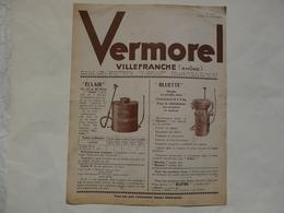 VIEUX PAPIERS - 69 VILLEFRANCHE - ETS VERMOREL : Catalogue (6 Pages) Sur Les Pulvérisateurs, Les Poudrages... - Publicités