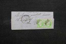 FRANCE - Lettre De Céaucé Pour Domfront En 1868 , Affranchissement Napoléon (5ct) En Paire , GC 4685 - L 32837 - Postmark Collection (Covers)