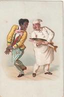 Rare Chromo Cuisinier Et Brochet Faisant Peur à Un Homme Noir - Trade Cards