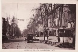 CPA 13 --  MARSEILLE -- Le Cours Belsunce + Tramways + Belle Animation - Canebière, Centre Ville