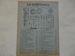 """VIEUX PAPIERS - 69 VILLEFRANCHE - ETS VERMOREL : Pièces De Rechange De La Soufreuse """"BLUETTE"""" Simple Effet. - Publicités"""