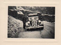 """Photo Authentique - Automobile TRACTION (  46-A-29)  écrit Au Dos : """" Il Neigeait Au Simplon - 2 Septembre 1950"""" - Automobile"""