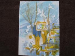 Lithographie Originale De Raymond Poulet Né En 1934 Non Signee: L'Oiseleur (Oiseau, Cage) - Estampes & Gravures