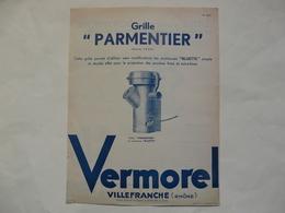 """VIEUX PAPIERS - 69 VILLEFRANCHE - ETS VERMOREL : Prospectus Grille """"PARMENTIER"""" - Publicités"""