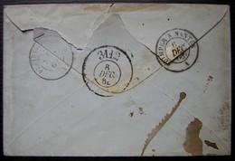 Lorient 1864 Lettre Taxée 30 Avec Cachet De Passe 3112 à L'arrière - Poststempel (Briefe)