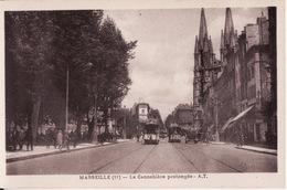 CPA 13 --  MARSEILLE -- La Cannebière Prolongée +Tramways + Belle Animation - Canebière, Centre Ville