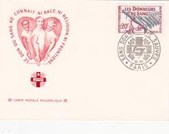 France - Carte Postale Philatélique Sur Les Donneurs De Sang - Timbre N° 1220 - Croix-Rouge