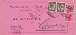 1946 DEMOCRATICA Due C.80 E Coppia C.20 (544+549) Su Piego Completo Testo Edolo (22.9) - 6. 1946-.. Repubblica