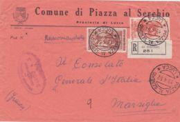 1952 LEONARDO Lire 25 + ITALIA LAVORO Lire 100 Su Raccomandata Piazza Al Serchio (19.4) Per La Francia - 6. 1946-.. Repubblica
