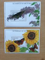 Tanzania 1994 Butterflies Of The World Papillons Schmetterlinge 2 Souvenir Sheets MNH** - Tansania (1964-...)