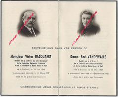 1937 Et 1952-Bailleul (59) Photos Victor BACQUAERT Et Zoé VANDEWALLE-confréries Catholiques - Décès