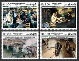 ANGOLA 2019 - Impressionists, Bridge, 4v. Official Issue - Bridges