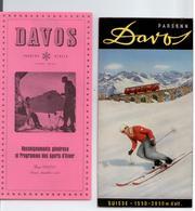 PUBLICITE 1952/53 DEPLIANT TOURISTIQUE 6 VOLETS DAVOS SUISSE TRAIN SKI PATINAGE TBE - Advertising