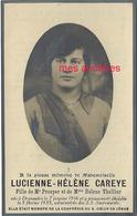 Faire-part De Décès 1935-Dranoutre (Belgique) Photo Lucienne CAREYE Fille De Prosper Et Hélène Thellier - Décès