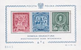 Pologne - Polska - Komisja Edukacyjna - BF 10 - Charnière Sur BF + Petite Tâche Sur 11z Côté 500,00€ - 1947 - Blocs & Feuillets