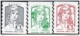 Autoadhésif(s) De France N° 1214,** +1215** +1215 A ** Marianne De Ciappa, Eco. Vert, Rouge Sans Les Poids (Verso Blanc) - Neufs